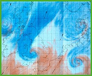 FitzRoy coloreaba a lápiz sus mapas «sinópticos» diarios. En este mapa de 1863 se ve un frente de bajas presiones que lleva tormentas hacia el norte de Europa desde el oeste y un ciclón en formación, abajo a la derecha