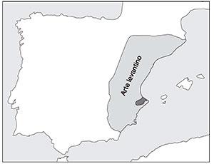 Distribución del arte levantino en la península Ibérica en sombreado gris claro y distribución del arte macroesquemático en gris oscuro