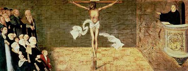 Martín Lutero predica desde el púlpito, en este cuadro que decora la iglesia de Santa María en Wittenberg. La presencia de Jesucristo crucificado simboliza la relación directa con Dios