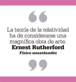 La teoría de la relatividad ha de considerarse una magnífica obra de arte. Ernest Rutherford. Físico neozelandés