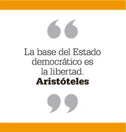 La base del Estado democrático es la libertad. Aristóteles