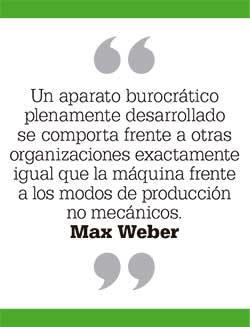 Un aparato burocrático plenamente desarrollado se comporta frente a otras organizaciones exactamente igual que la máquina frente a los modos de producción no mecánicos. Max Weber