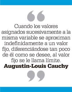 Cuando los valores asignados sucesivamente a la misma variable se aproximan indefinidamente a un valor fijo, diferenciándose tan poco de él como se desee, al valor fijo se le llama límite. Augustin-Louis Cauchy