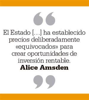 El Estado ha establecido precios deliberadamente «equivocados» para crear oportunidades de inversión rentable. Alice Amsden